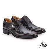 A.S.O 勁步雙核心 自黏帶款真皮鞋 茶色