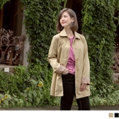 《EA2325》臧芮軒。純色內裡印花修身長版風衣外套 OrangeBear