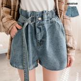 現貨-MIUSTAR 設計感單邊鬆緊腰頭金屬環腰帶顯瘦牛仔短褲(共1色)【NG002289】
