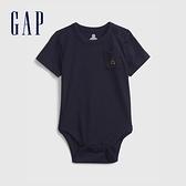 Gap嬰兒 布萊納系列 小熊刺繡短袖連身衣 710486-海軍藍
