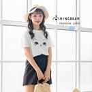 棉T--舒適寵物風貓咪字母印花寬鬆修身百搭圓領短袖T恤(白.藍M-3L)-T338眼圈熊中大尺碼