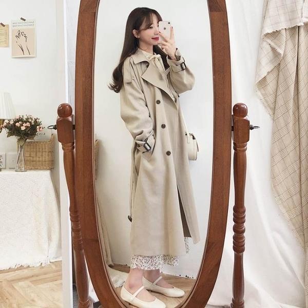 限時特銷 季新款女神范大衣系帶收腰中長款流行氣質風衣外套小個子潮