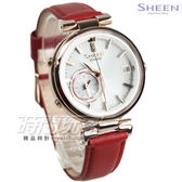 SHEEN SHB-100CGL-7A 雅典娜之美藍芽傳輸太陽能日曆皮帶女錶 手錶 紅x桃金 SHB-100CGL-7A CASIO卡西歐