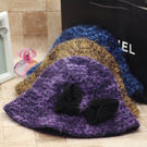 韓國秋冬季加厚馬海毛粗針織混紡蝴蝶結漁夫帽盆帽可調節