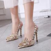 高跟涼鞋 高跟鞋 歐洲街拍新款水鑽甜美性感優雅時尚淺口女鞋韓版女鞋子【多多鞋包店】ds3947