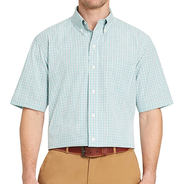 Arrow 箭牌男府綢短袖格子襯衫(海藍色)