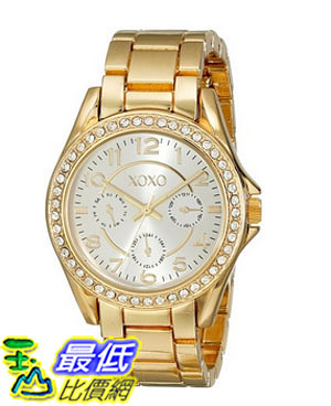 [美國直購] 女錶 XOXO Women s XO178 Rhinestone-Accented Gold-Tone Watch