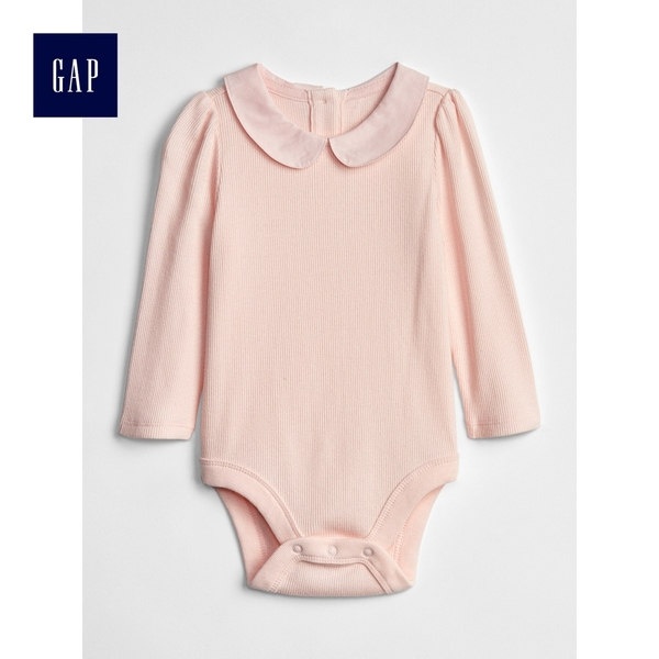 Gap女嬰兒 柔軟羅紋彼得潘領長袖包屁衣 497503-淺粉色