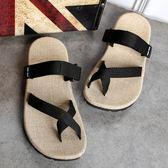 涼鞋男夏季情侶亞麻拖鞋男士防滑休閒室外沙灘鞋夾腳人字拖男鞋 愛麗絲精品