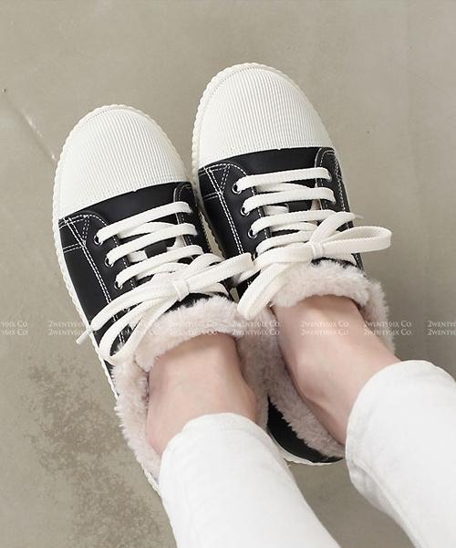 【2wenty6ix】正韓 ★ Harbin Snow Sneaker 可愛雪國 柔軟短毛絨鋪裡 平底繫帶休閒鞋 (兩色)