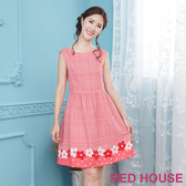 【RED HOUSE 蕾赫斯】格紋花朵無袖洋裝(粉紅色)