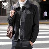 牛仔外套秋冬季潮男士修身加絨復古牛仔夾克青年休閑韓版加厚牛仔外套上衣-大小姐韓風館