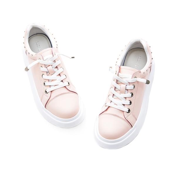 MICHELLE PARK 潮流 ‧ 小水鑽懶人鞋帶厚底休閒鞋-粉