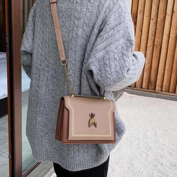 側背包仙女英倫女包包2020新款韓版時尚刺繡小方包復古鉚釘錬條側背包潮