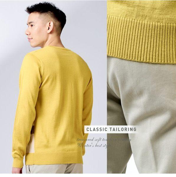 Christian 時尚現代提花圓領保暖毛衣_黃(VW736-35)