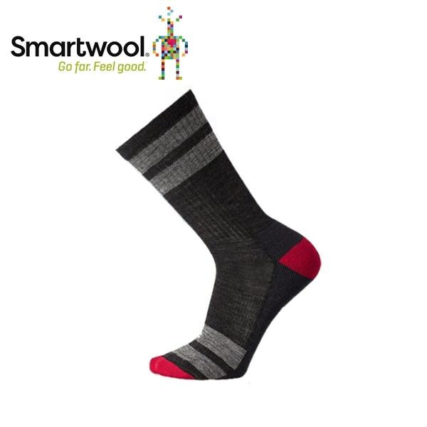 【美國 SmartWool 健走條紋輕量中長襪 《炭黑》】SW001125/恆溫/吸濕排汗/抗臭