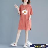 睡衣女夏棉質家居服裙子夏季薄款女士大碼寬鬆可外穿全棉短袖睡裙 8號店