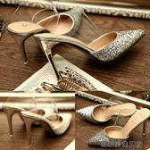 拖鞋女夏時尚外穿尖頭高跟鞋拖鞋