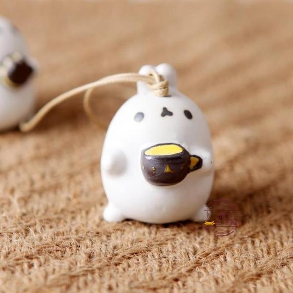 可愛小耳朵卡通兔子頭陶瓷風鈴 擺件有愛禮物手工家居掛件家居【快速出貨】