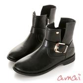 amai 《堪薩斯州女孩》側V金屬裝飾工程靴 黑