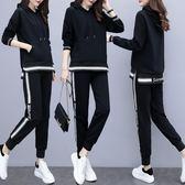 大尺碼套裝 胖mm時髦大尺碼女裝 新款春秋時尚洋氣衛衣 寬鬆顯瘦減齡兩件套裝
