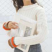 現貨-毛衣-粗棒坑條袖口三色針織毛衣 Kiwi Shop奇異果1109【SPM8302】