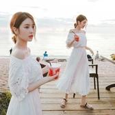 一字領洋裝 沙灘裙海邊度假海灘裙初戀裙一字肩超仙長款連衣裙