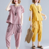 微胖妹妹顯瘦套裝夏季減齡遮肉寬鬆短袖t恤棉麻洋氣七分褲兩件套
