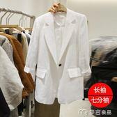 夏季新款七分袖亞麻chic小西裝女裝外套薄款韓版休閒短款棉麻西服     麥吉良品
