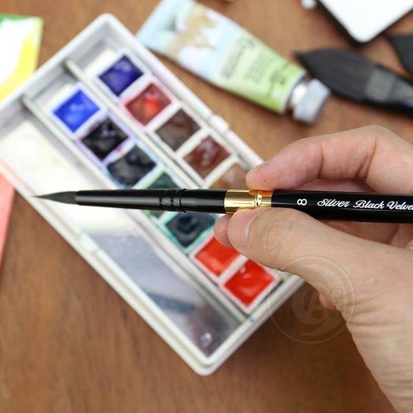 『ART小舖』Silver Brush美國黑天鵝絲絨Black Velvet松鼠混合毛 旅行圓頭畫筆 3100ST 4號