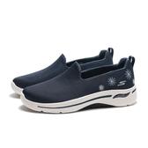 SKECHERS 休閒鞋 GO WALK ARCH FIT 深藍 刺繡花 足弓款 懶人鞋 女 (布魯克林) 124402NVY