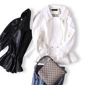 黑白色收腰女士小皮衣短外套春秋裝2019新款韓版寬鬆甜美pu皮夾克