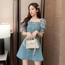 牛仔洋裝 夏季新款復古方領碎花泡泡袖拼接牛仔裙小個子a字連身裙女