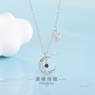 s925純銀韓版水滴藍鉆月亮項鏈鏤空氣質星星鎖骨鏈一件代發