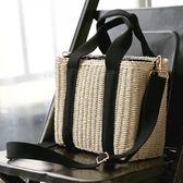 LOWRYS FARM素色2WAY仿竹編織方型手提包肩背包-三色