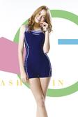 【M7413 】梅林泳裝↘特賣~大女藍底配藍白線條連身四角泳衣  贈泳帽