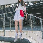 運動短褲寬鬆撞色透氣運動短褲女闊腿跑步百搭休閒熱褲女 曼莎時尚
