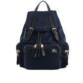 【BURBERRY】The Rucksack尼龍拼皮革中型軍旅背包(藍/銀) 8006723 A1243
