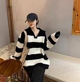 針織毛衣 針織衫休閑寬松拼色針織衫Polo領條紋毛衣女MB085-B依品國際