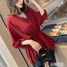 大碼女裝款2021年新款胖mm寬鬆顯瘦上衣遮肚子短袖雪紡衫女潮 極有家