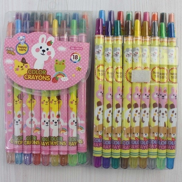 18色旋轉蠟筆 東奇DQ-10018(長型袋裝)/一箱12小盒入(促119) 彩桿-萬