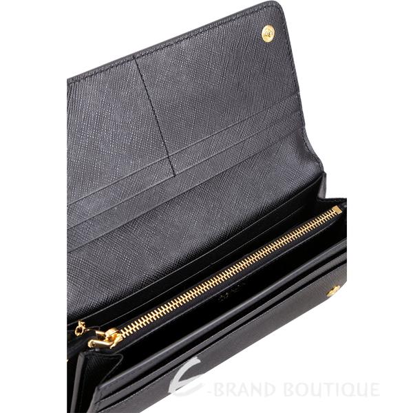 PRADA Saffiano 黑字浮刻防刮牛皮釦式長夾(附可拆式証夾/黑色) 1810362-01