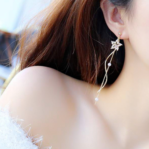 現貨 韓國氣質女神浪漫星星珍珠流蘇垂墜925銀針耳環 夾式耳環 S93297批發價 Danica 韓系飾品
