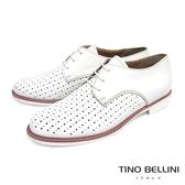 Tino Bellini義大利進口大小沖孔綁帶紳士鞋_ 白 B73203 歐洲進口款
