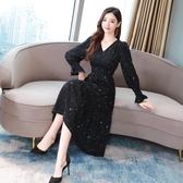 依米迦 長袖洋裝 秋裝新款韓版V領雪紡黑色顯瘦連身裙裝長袖印花長裙
