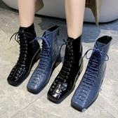 復古英倫風短靴女鞋2019新款粗跟系帶馬丁靴百搭機車靴子 XN7292【愛尚生活館】