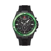 【SWISS MILITARY HANOWA】SQUAD瑞士錶三眼計時矽膠錶-活潑綠/SM10115JPB19BK.02/台灣總代理公司貨兩年保固