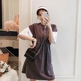 【A4965】拉鍊收腰灰白拼連身裙 XL-5XL