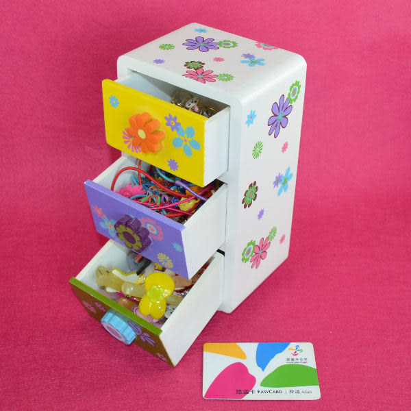 佳廷模型 木製抽屜式收納盒 禮物 首飾盒 髮飾盒 珠寶盒 文具盒-七色花 三格立式