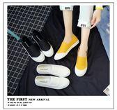 平底鞋黑色帆布鞋女學生正韓平底懶人鞋女一腳蹬小白布鞋 米蘭潮鞋館